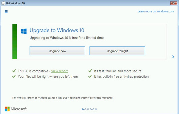 Source: InfoWorld.com - http://www.infoworld.com/article/3015238/microsoft-windows/microsoft-narrows-win10-upgrade-options-to-upgrade-now-or-upgrade-tonight.html